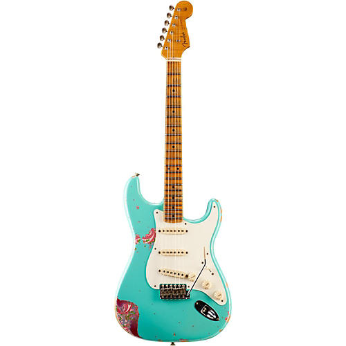 Fender Custom Shop Limited Edition 1957 Heavy Relic Stratocaster Electric Guitar, Maple Lake Placid Blue over Pink Paisley-thumbnail
