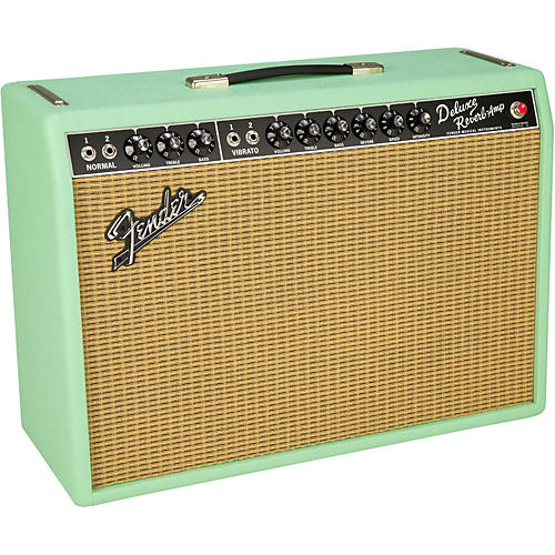 Fender Limited Edition '65 Deluxe Reverb Surf Green 22W 1x12 Tube Guitar Combo Amplifier-thumbnail