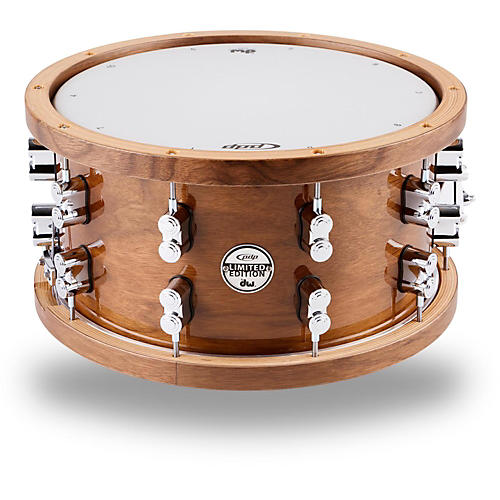 PDP by DW Limited Edition Dark Stain Walnut and Maple Snare with Walnut Hoops and Chrome Hardware-thumbnail