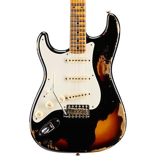 Fender Custom Shop Limited Edition Heavy Relic Mischief Maker Maple Fingerboard Left-Handed Electric Guitar Black over 3-Color Sunburst