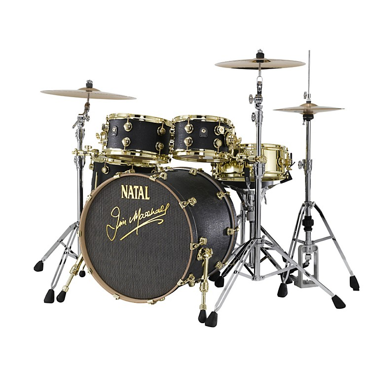 Natal Drums Limited Edition Jim Marshall Maple 4-Piece Shell Pack Black Tolex