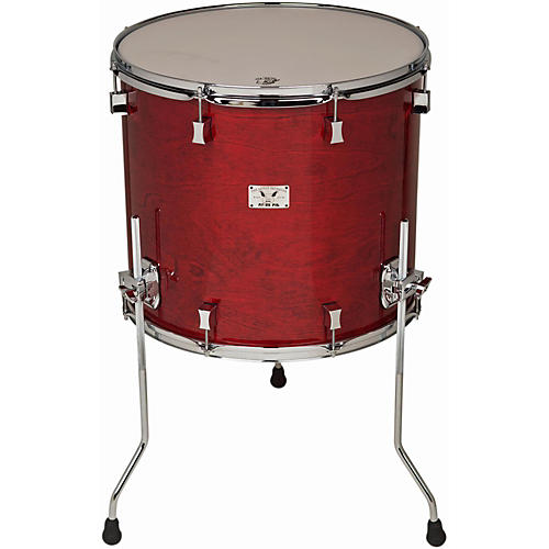 Pork Pie Little Squealer Birch/Mahogany Floor Tom with Chrome Hardware 18 x 16 in. Black Cherry High Gloss Lacquer