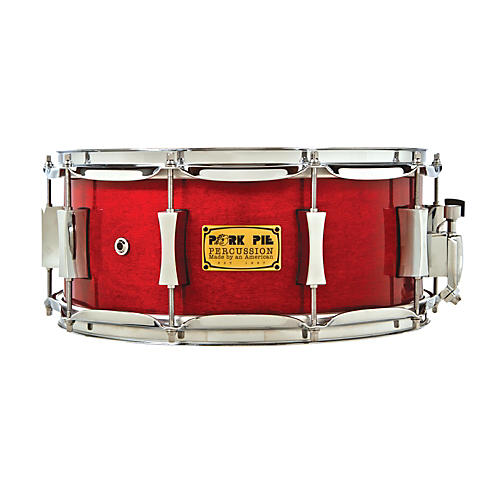 Pork Pie Little Squealer Birch/Mahogany Shell Snare Drum High Gloss Black Cherry Lacquer with Chrome Hardware 6.5X14 Inch