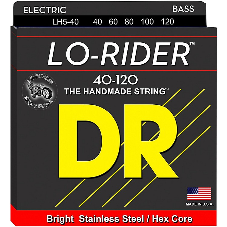 DR Strings Lo Rider LH5-40 Light Stainless Steel 5-String Bass Strings