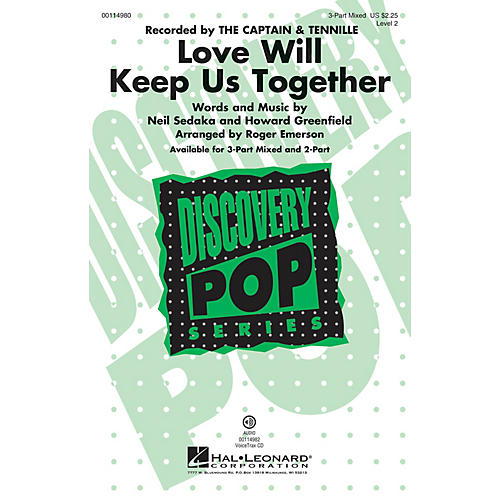 Hal Leonard Love Will Keep Us Together 3-Part Mixed by The Captain & Tennille arranged by Roger Emerson-thumbnail