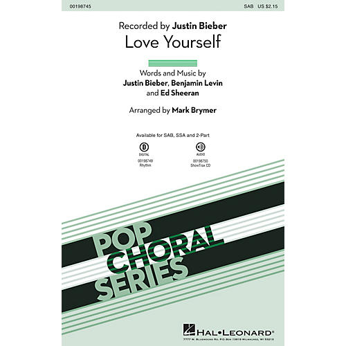 Hal Leonard Love Yourself SSA by Justin Bieber Arranged by Mark Brymer-thumbnail