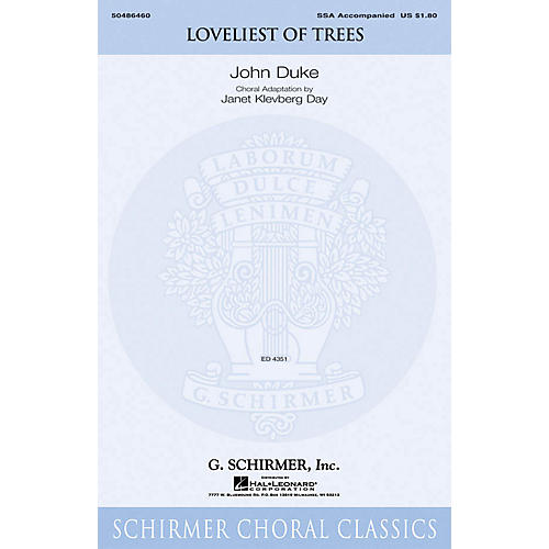 G. Schirmer Loveliest of Trees SSA arranged by Janet Day-thumbnail