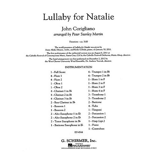 G. Schirmer Lullaby for Natalie Concert Band Level 5 Composed by John Corigliano-thumbnail