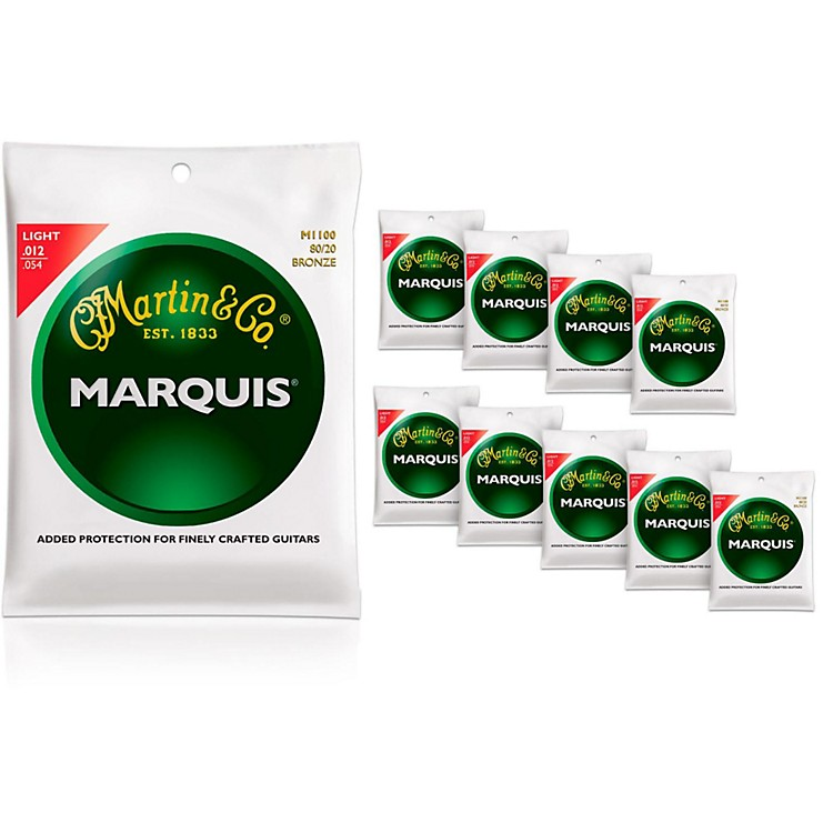 MartinM1100 Marquis 80/20 Bronze Light Acoustic Strings 10-Pack