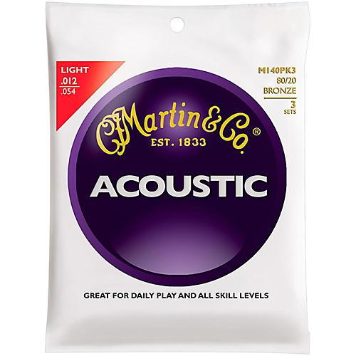 Martin M140 80/20 Bronze Light 3-Pack Acoustic Guitar Strings-thumbnail