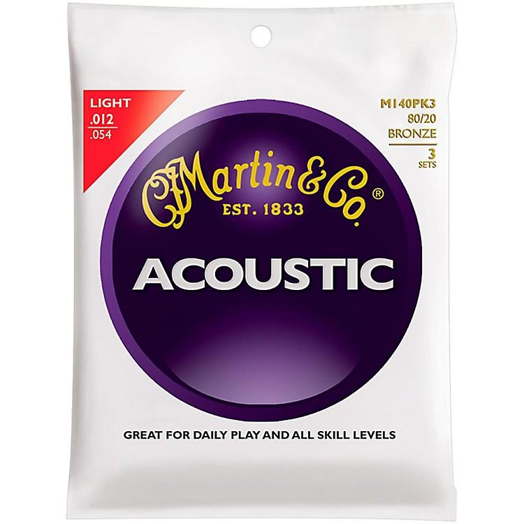 MartinM140 Light Acoustic Guitar Strings - 3 Pack