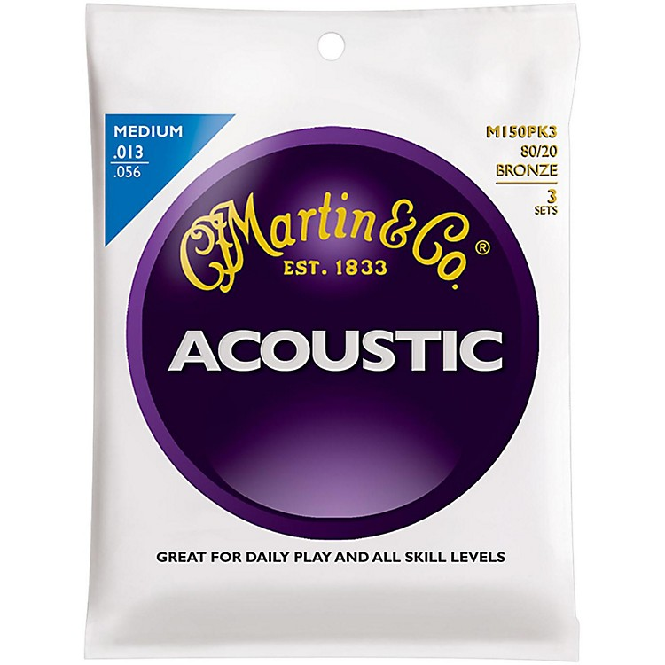 Martin M150 80/20 Bronze Round Wound Medium Acoustic Guitar Strings - 3 Pack