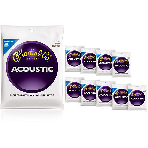 Martin M150 80/20 Bronze Round Wound Medium Acoustic Strings 10-Pack