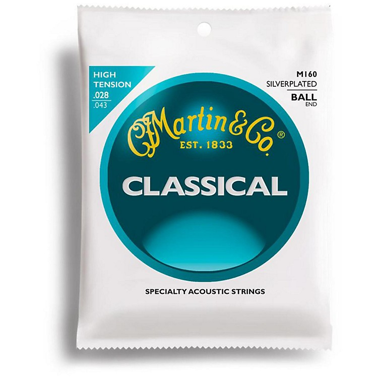 Martin M160 Silverplated Ball End High Tension Nylon Classic Guitar Strings
