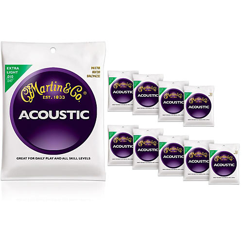 Martin M170 80/20 Bronze Extra Light 10-Pack Acoustic Guitar Strings