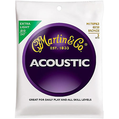 Martin M170 80/20 Bronze Round Wound Extra Light Acoustic Guitar Strings - 3 Pack