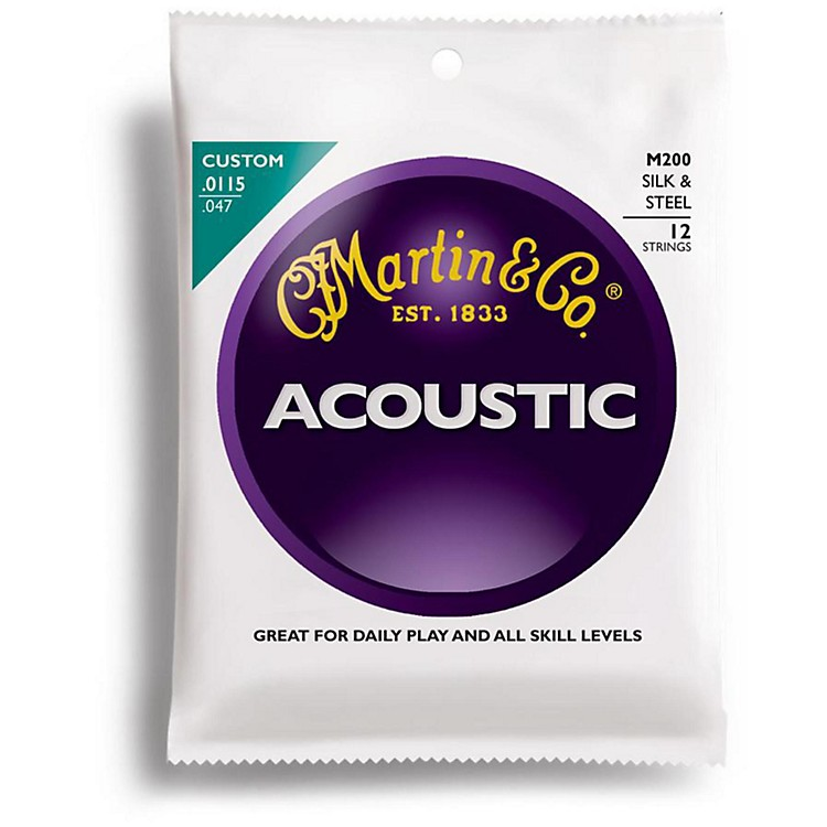 Martin M200 12-String Acoustic Folk Guitar Silk and Steel Round Wound Strings