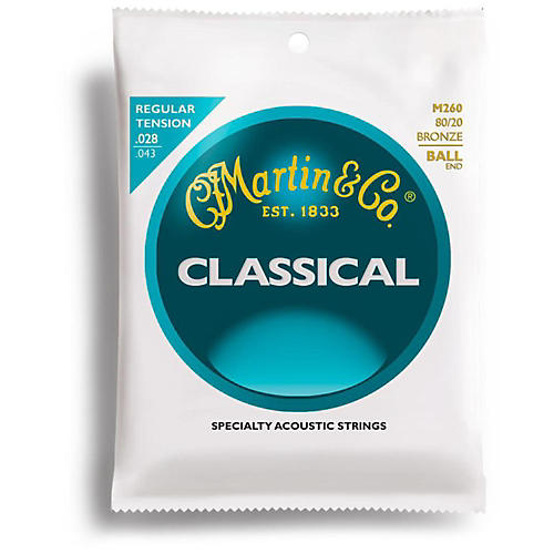 Martin M260 80/20 Bronze Ball End Tension Nylon Classic Guitar Strings