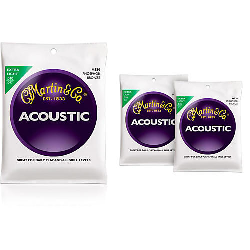 Martin M530 Phosphor Bronze Extra Light Acoustic Guitar Strings - 3 Pack