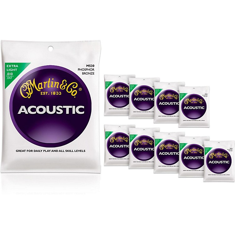 Martin M530 Phosphor Bronze Extra Light Acoustic Guitar Strings 10-Pack