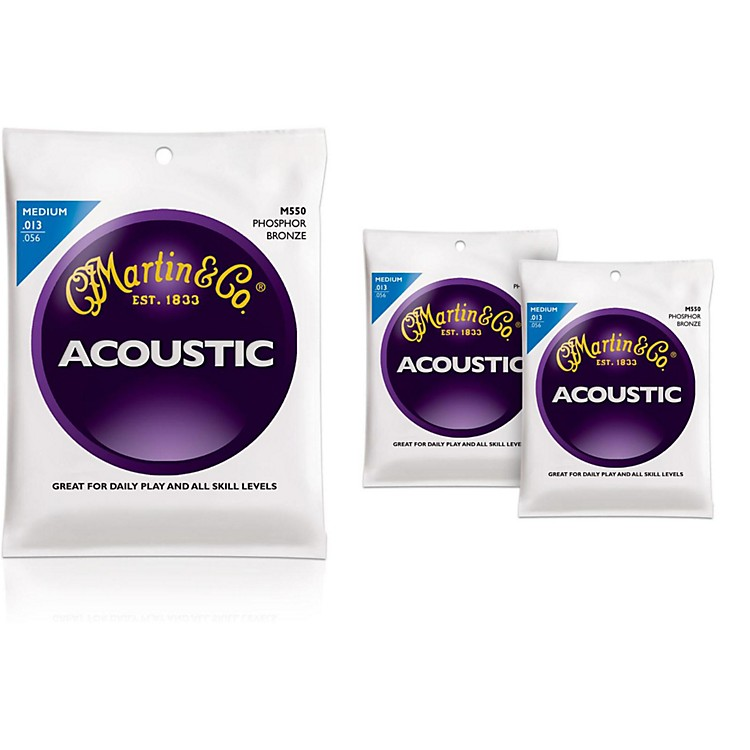 Martin M550 Medium Phosphor Bronze Acoustic Guitar Strings - 3 Pack