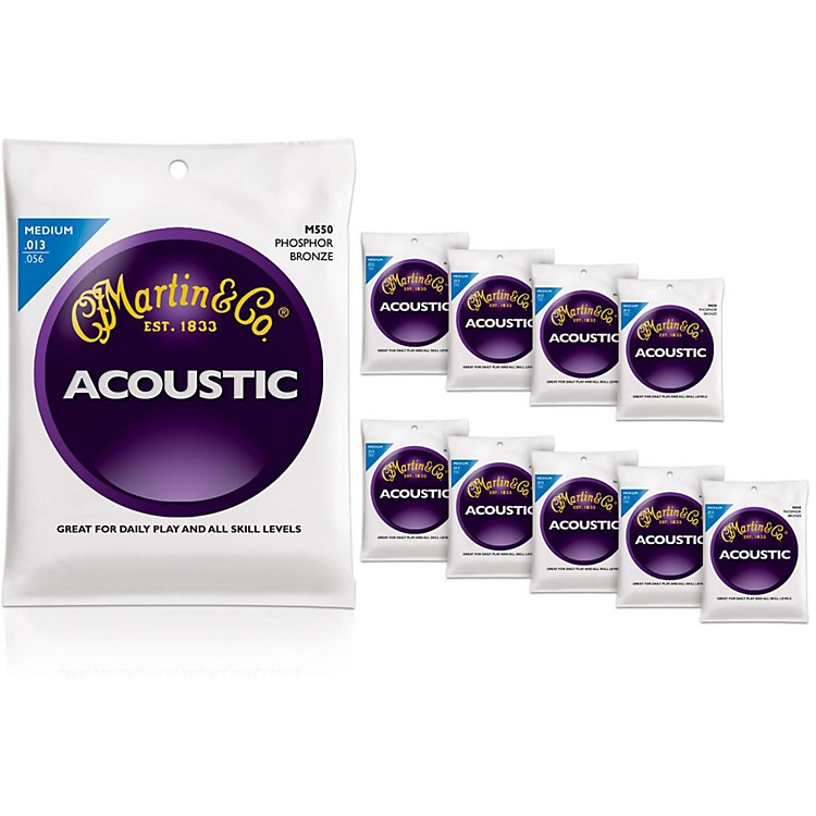 Martin M550 Medium Phosphor Bronze Acoustic Guitar Strings 10-Pack