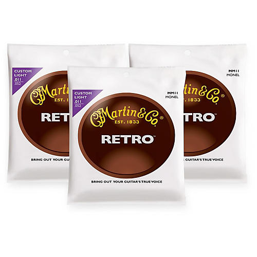 Martin MM11 Retro Series Custom Light Acoustic Guitar Strings (3 Pack)