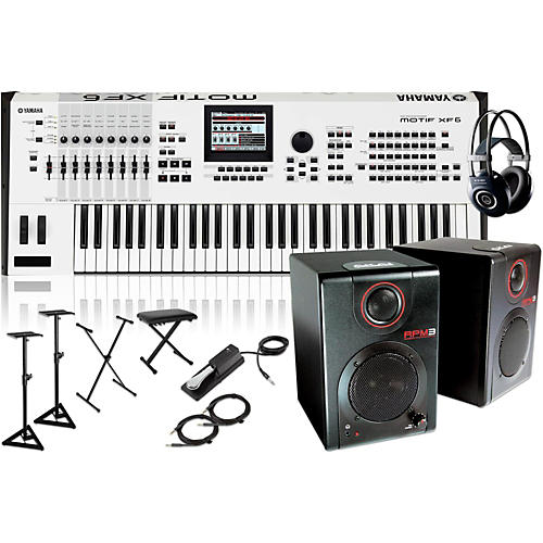 Yamaha MOTIF XF6 White 61Key Music Production Synth w/ RPM3 Monitor, Stand, Headphone, Bench, Sustain Pedal