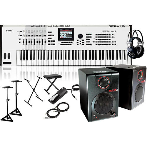Yamaha MOTIF XF7 White 76-Key Music Production Synth w/RPM3 Monitor, Stand, Headphone, Bench, Sustain Pedal