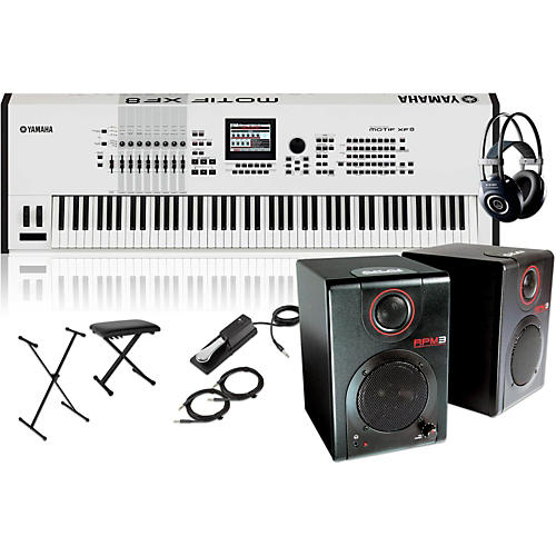 Yamaha MOTIF XF8 White 88-Key Music Production Synth w/ RPM3 Monitors, Stand, Headphones, Bench & Pedal-thumbnail