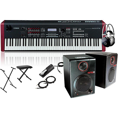 Yamaha MOXF8 88-Key Weighted Synth with RPM3 Monitors, Stand, Headphones, Bench and Sustain Pedal-thumbnail