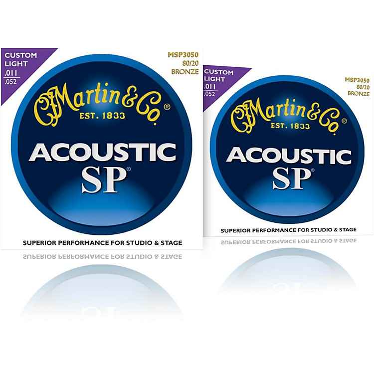 MartinMSP3050 SP 80/20 Bronze Custom Light Acoustic Guitar Strings (2 Pack)