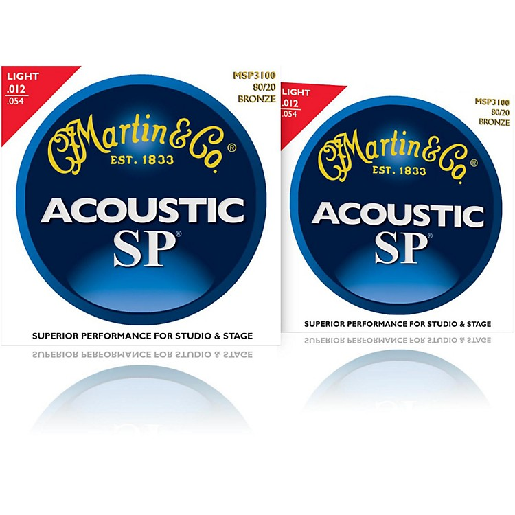 MartinMSP3100 SP 80/20 Bronze Light Acoustic Guitar Strings (2 Pack)