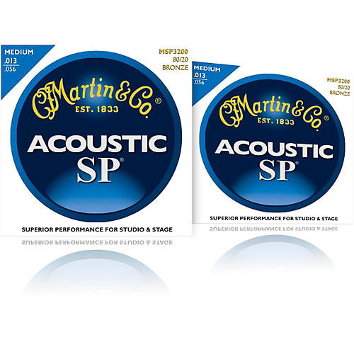 Martin MSP3200 SP 80/20 Bronze Medium 2-Pack Acoustic Guitar Strings-thumbnail