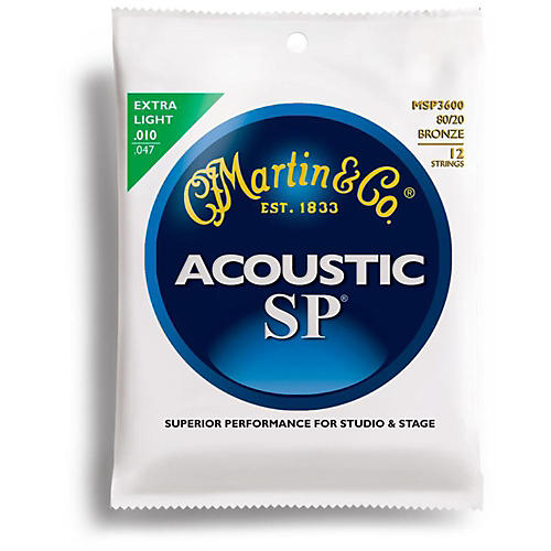 Martin MSP3600 12-String SP Phosphor Bronze Extra Light Acoustic Guitar Strings
