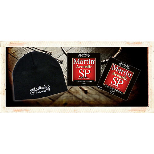 Martin MSP4100 Phosphor Bronze Light Acoustic Strings 2 Pack-with FREE Martin Logo Knit Hat