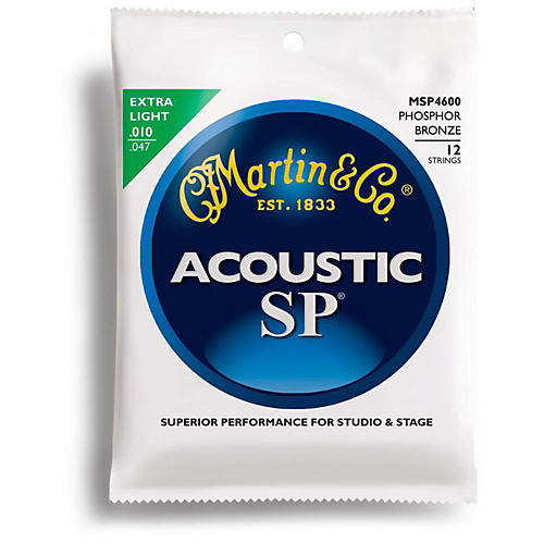 Martin MSP4600 Phosphor Bronze Extra Light 12-String Acoustic Guitar Strings