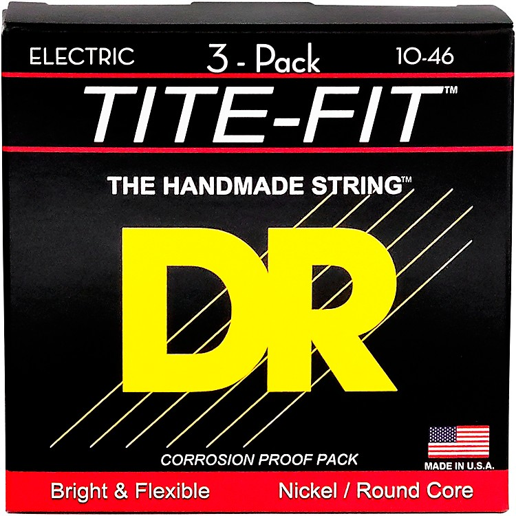 DR StringsMT-10 Tite-Fit Medium Electric Guitar Strings 3-Pack