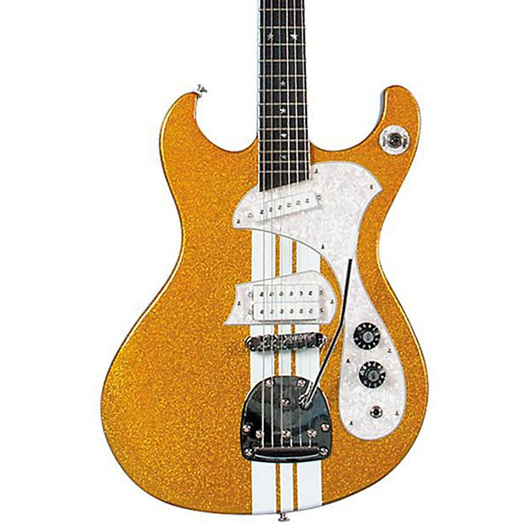 DiPinto Mach IV-T Electric Guitar Gold Sparkle With White Racing Stripes