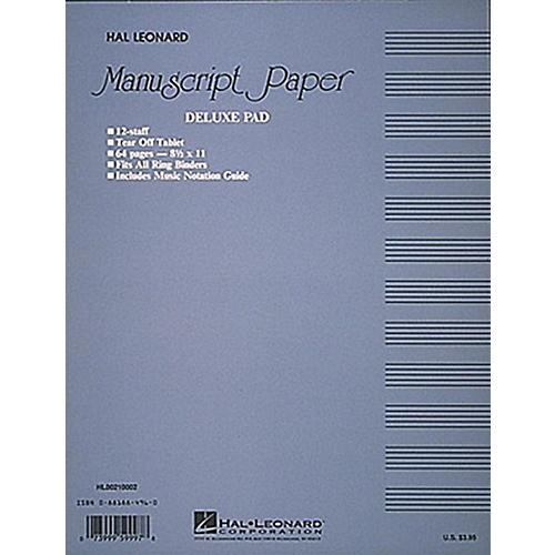 Hal Leonard Manuscript Paper 32 Page 12 Staves Punched Printed Both Sides