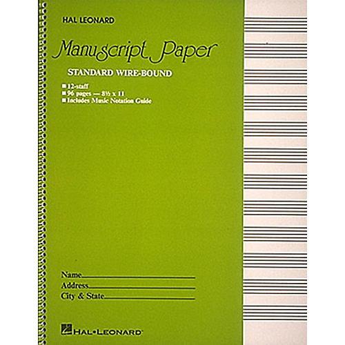 Hal Leonard Manuscript Paper 96 Page Wirebound 12 Staves