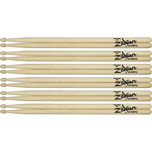Zildjian Maple Drumsticks 6-Pack 5A Wood Tip