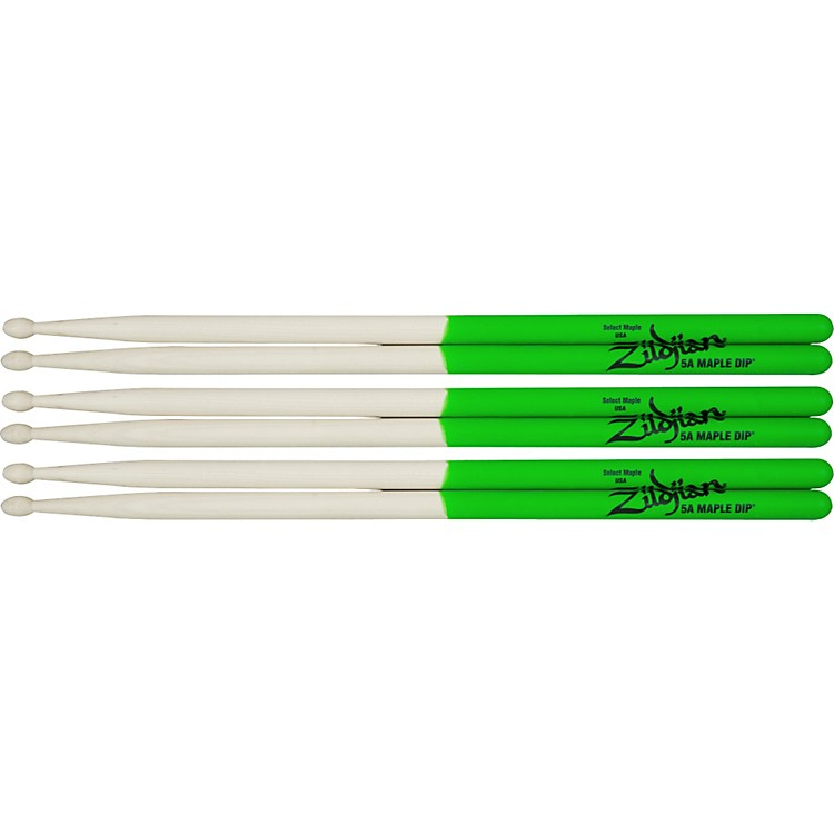 Zildjian Maple Green DIP Drumsticks 3-Pack Super 7A Wood Tip