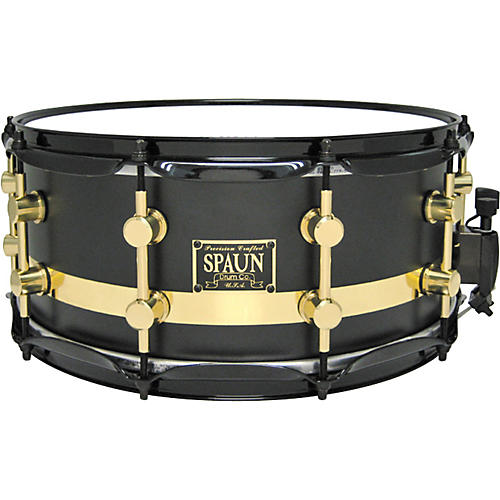 Spaun Maple Snare Flat Black with Chrome Stripe 14X6.5