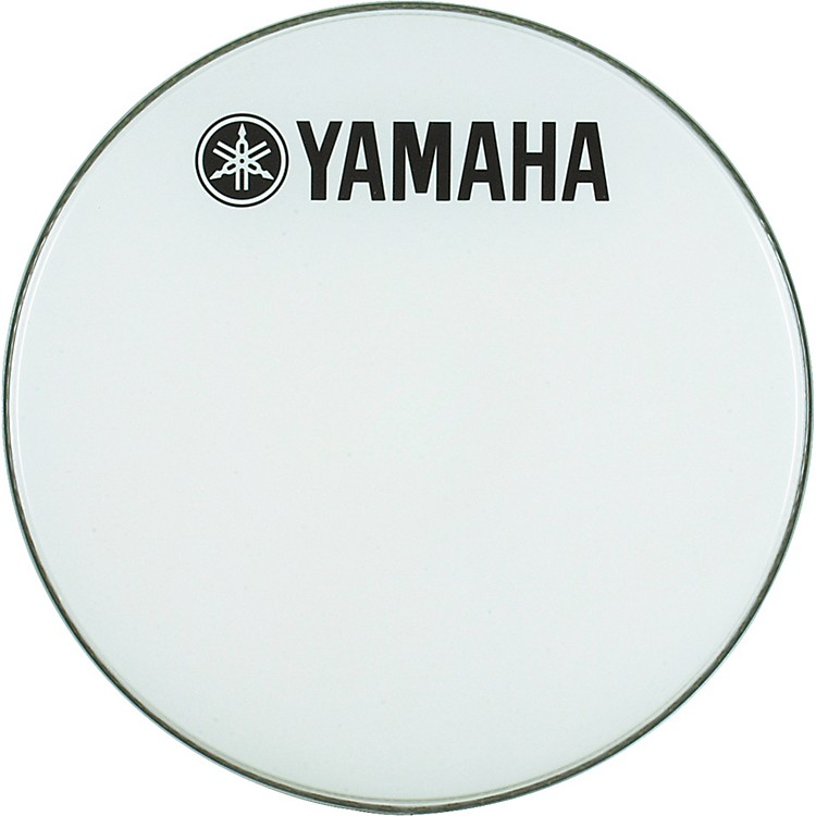 Yamaha Marching Bass Drum Head with Fork Logo White 24 Inch