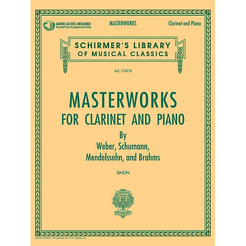 G. Schirmer Masterworks for Clarinet and Piano Woodwind Solo Softcover Audio Online Edited by Eric Simon-thumbnail
