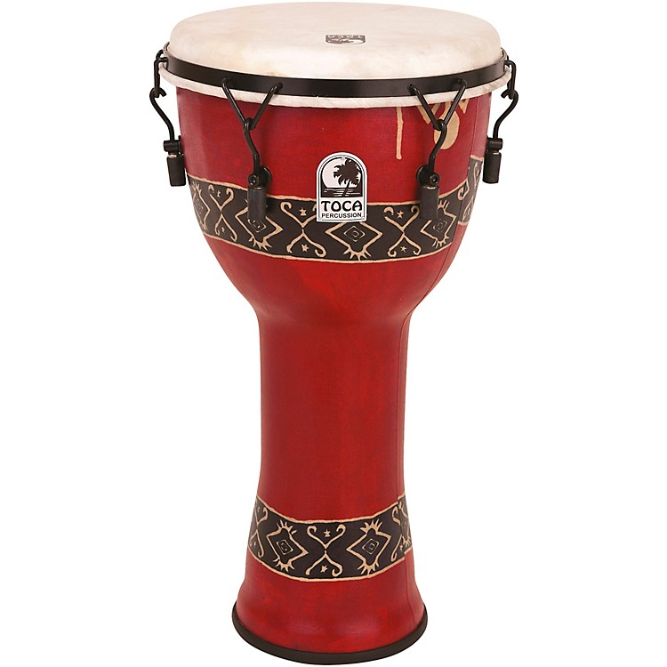 Toca Mechanically Tuned Djembe with Extended Rim 12 inch Bali Red