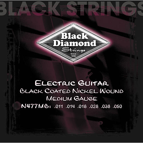 Black Diamond Medium Gauge Black Coated Nickel Electric Guitar Strings
