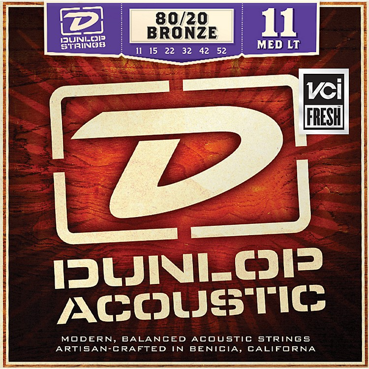 Dunlop Medium Light 80/20 Bronze Acoustic Guitar Strings