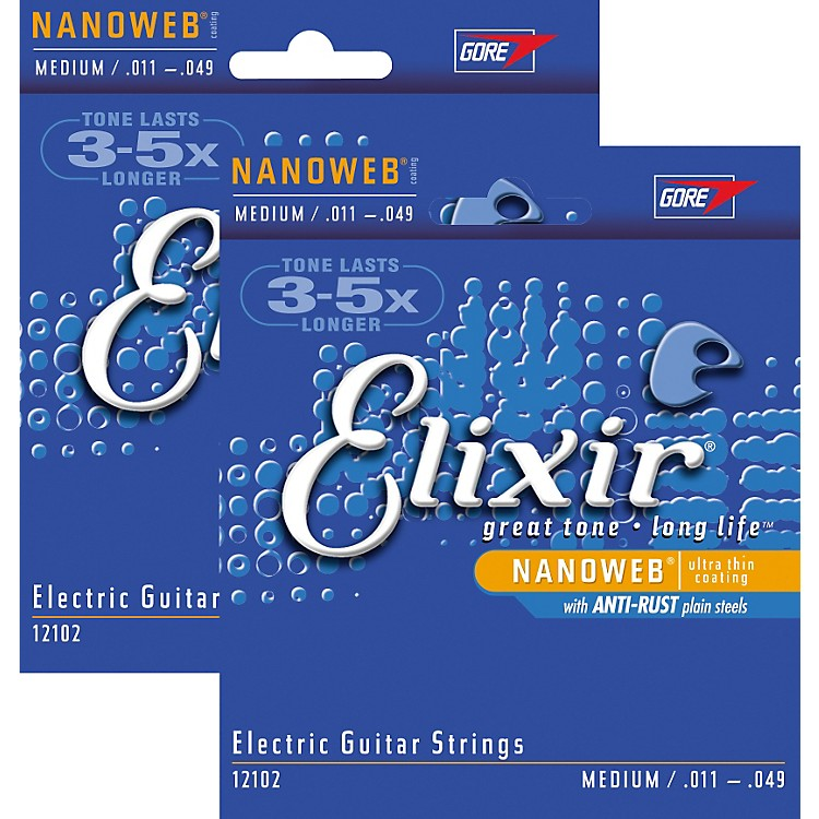 Elixir Medium Nanoweb Electric Guitar Strings 2-Pack